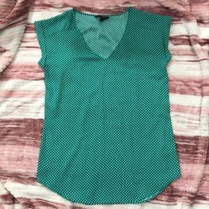 EXPRESS Green Polka Dot Blouse